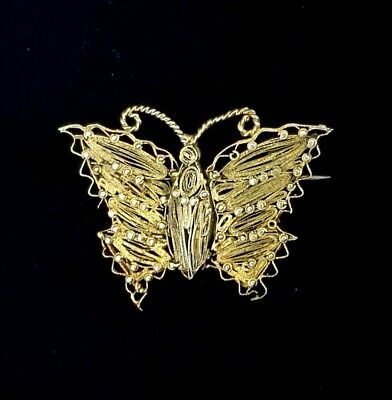 Unusual Victorian Arts and Crafts Gilt Wirework Butterfly Brooch