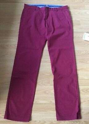 """Joules Mens Chino Style Trousers Burgundy 32"""" Waist"""