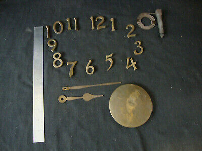 Vintage Mission Wall Clock Parts Lot - Brass Numbers 1 -12, Pendulum Wt., Hands