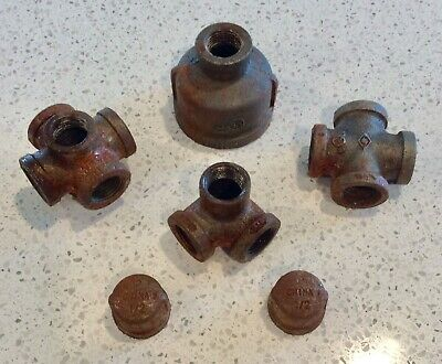 Set Of Metal Plumbing Fittings For Steampunk Industrial Craft Project Parts
