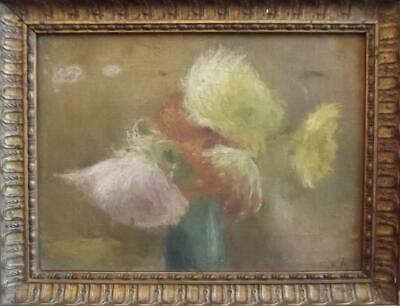 Antique SIGNED Mystery French Impressionist STILL LIFE OIL PAINTING Restoration