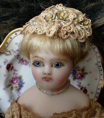 BEAUTIFUL museum quality antique English poured wax fashion doll, orig. costume