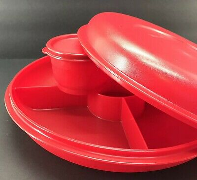 Tupperware Small Serving Center Divided Tray Red w/Snack Cup New