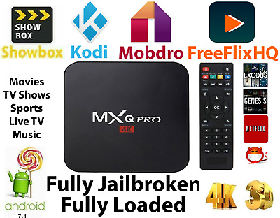 MXQ Pro HD 4K 3D 64Bit Android 7.1 Quad Core Smart TV Streaming Box - 2GB+16GB