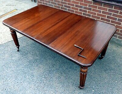 William IV antique solid Cuban mahogany extending kitchen dining table seats 8