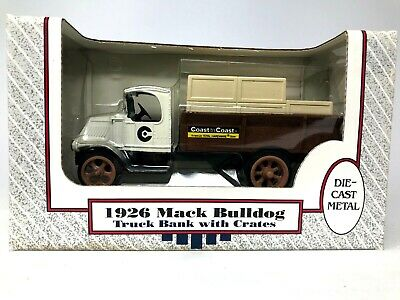 1926 Mack Bulldog Truck Bank with Crates, Die-Cast Metal, Ertl