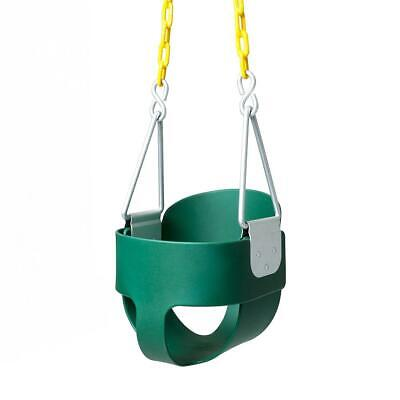 Outdoor Green High Back Half Bucket Toddler Swing Seat with Coated Chain