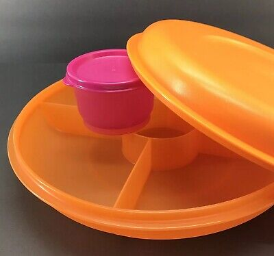 Tupperware Small Serving Center Divided Orange Tray + Pink Snack Cup New