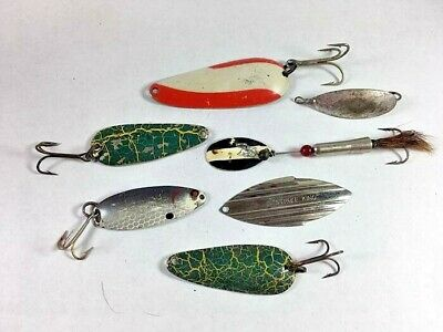 VINTAGE Mixed Lot of 7 Vintage Spoon Metal Fishing Lures Names in Photos