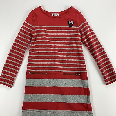 Disney Minnie Mouse Girls Red & Grey Long Sleeve Striped Shift Dress Size 10