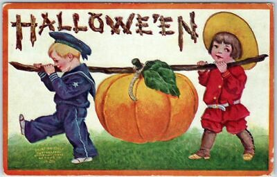 Vintage HALLOWEEN Postcard Boy & Girl Carrying Large Pumpkin - Intl Art c1909