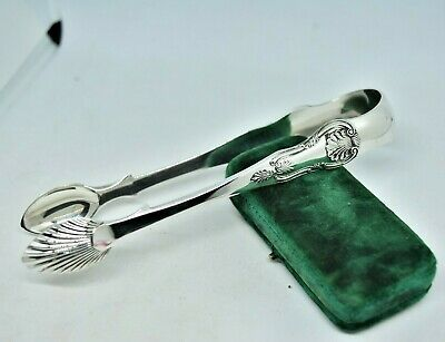 Antique 1867 Edinburgh pair of Solid Sterling Silver Sugar tongs 61.92g #P546