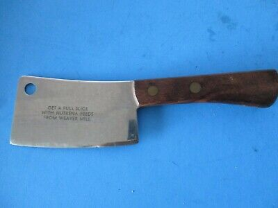 vintage small advertising meat cheese cleaver Nutrena Feeds Weaver Mill cleaver