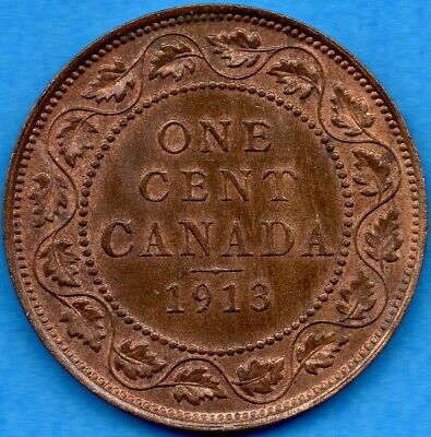 Canada 1913 1 Cent One Large Cent Coin - Uncirculated+