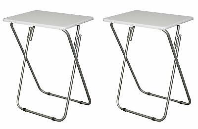 Set 2 White Wooden Metal TV Tray Folding Snack Table Portable Dinner Side End