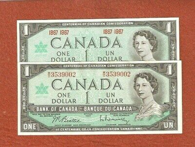 Set of 2 1867-1967 Centennial One Dollar Bank Notes Gem Uncirculated E798