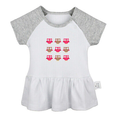 9 Pink Cute Winking Owl Newborn Baby Dress Toddler Infant 100% Cotton Clothes