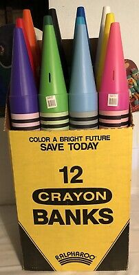 "Complete Set 12 Color Crayon Coin Banks 35"" Ralphco Blow Mold Vtg New Display"