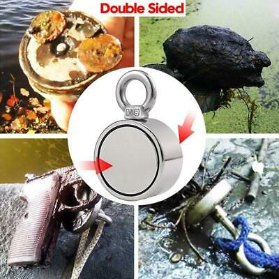 500KG Double Side Recovery Strong Neodymium Magnet Fishing 10M Rope 2 Ring New t