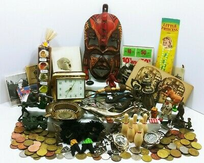 Vtg Antique Junk Drawer Lot Mask Spur Clock Tokens Figures Watches Ephemera