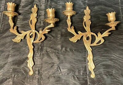 Vintage Pair Brass Gold Gilt Louis XV Style Two Candle Sconces Antique Rare