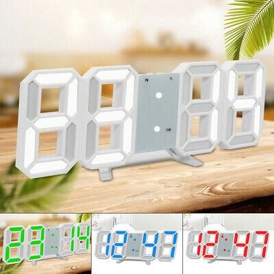 Digital 3D LED Wall Desk Clock Alarm Big Digits Auto Temperature USB Electronic