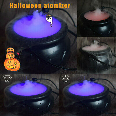 Halloween Witch Cauldron Mister Mist/Smoke Fog Machine Color Changing Party Tool