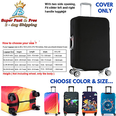 """Spandex Suitcase Protective Cover Fits 19-32"""" Travel Luggage Carry On Washable"""
