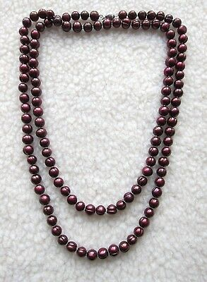 """50"""" Long & Big 10-11 mm Red-Purple Off-Round Baroque F.W. Pearl Necklace."""