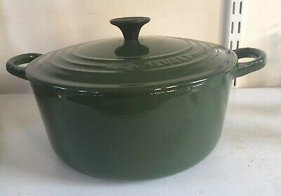 Le Creuset Cast Iron 22cm Green Round Casserole Dish Pot Pan Dutch Oven With Lid