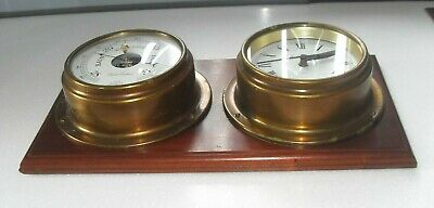 VINTAGE 1970s LARGE SIZE FOSTER CALLEAR MARINE SHIPS BULKHEAD BAROMETER & CLOCK