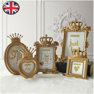 DIY Gold Crown Resin Photo Picture Frame Baroque Luxury Style Home Decor Gift UK