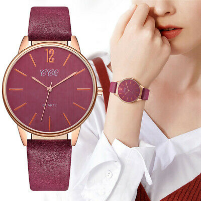 Women's Fashion Simple Watch NO Stainless Steel Dial Leather Belt Ladies Watch E