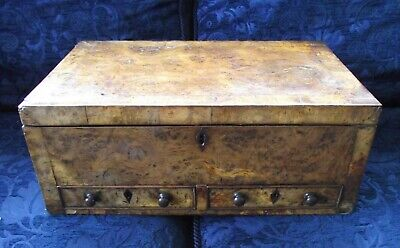 Burr Walnut Work Box Chest Georgian Antique Woodenware Bunbury Watercolour