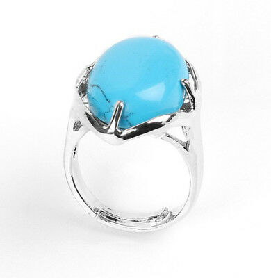 R385E Ring Silver Plated with Turquoise Blue Oval Adjustable Size
