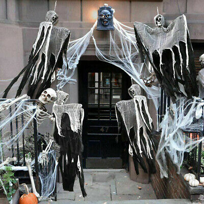 Scary Halloween Decorations Ghost Skull Haunted House Horror Hanging Props-Black