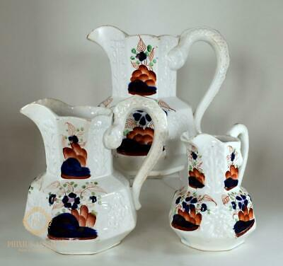 Set Of Three Antique 19Th C Staffordshire Gaudy Welsh Graduated Water Jugs