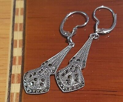 Vintage Sterling Silver Art Deco 1930's Marcasite Leverback Drop Earrings