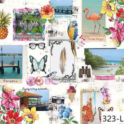 TWO New Paper Luncheon Decoupage Napkins - PARADISE, TRAVEL, FLOWERS, (323)