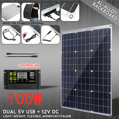 100W Flexible Solar Panel DC 12V Charger Controller Dual USB Mono Battery Car
