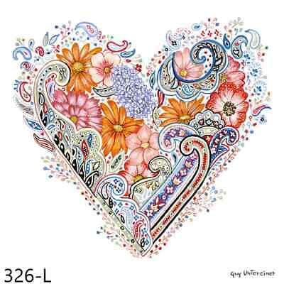 TWO New Paper Luncheon Decoupage Napkins - HEART, FLOWER, HEARTS, FLOWERS, (326)