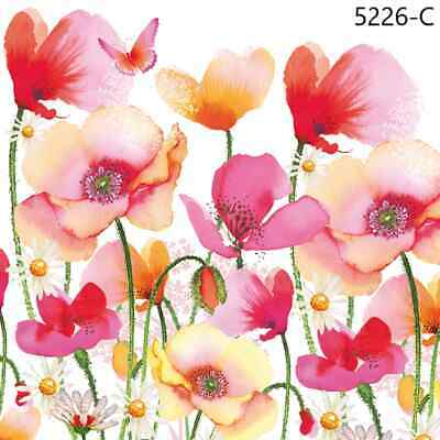 TWO New Paper Cocktail Decoupage Napkins - FLOWERS, POPPY, BUTTERFLIES, (5226)