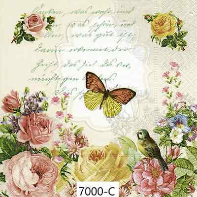 TWO New Paper Cocktail Decoupage Napkins - BIRDS, BUTTERFLY, FLOWERS, (7000)
