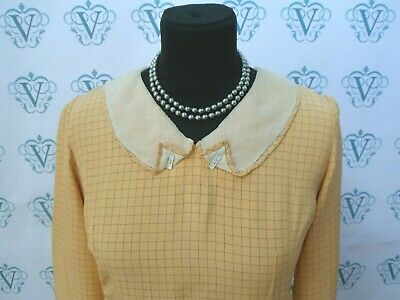 Vintage 1930s 1940s silk lined yellow check lined back zip dress