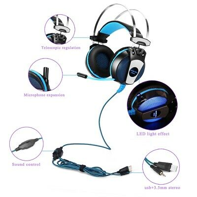3.5mm Gaming Headset MIC LED Headphones For PC Laptop PS4 Slim Pro Xbox One