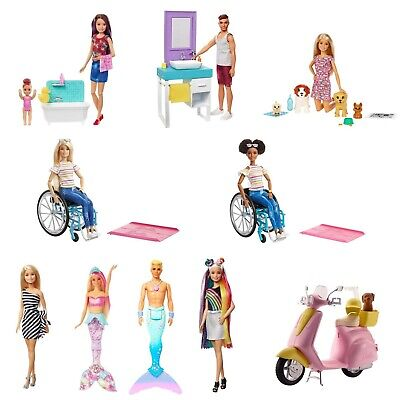 Barbie Doll Various Dolls & Toys Playsets Mermaid Wheelchair Merman Moped NEW