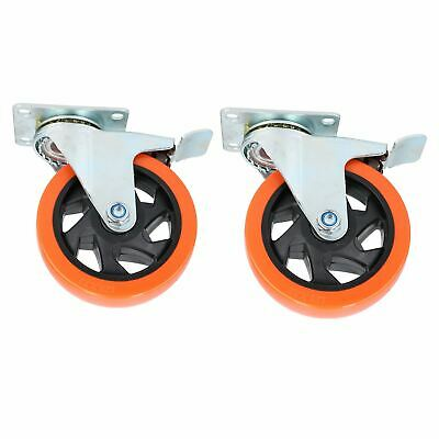 "5"" Swivel PVC Trolley Castor Wheel With Brake Roller Bearings 150kg Load 2pc"