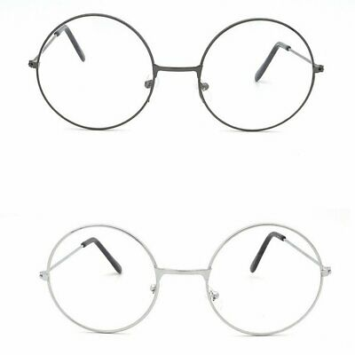Unisex Retro Designer Round Metal Big Frame Optical Plain Mirror Glasses T7