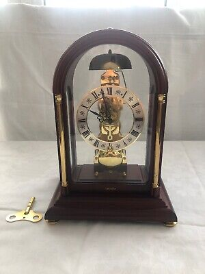 Vintage Franz Hermle Mechanical Skeleton Mantle Chime Clock - 791-081 Germany
