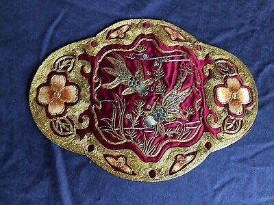 Superb Vintage Chinese Heavily Hand Embroidered Silk Oval Panel Picture To Frame